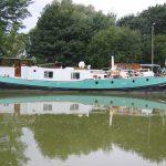 Zum Hausboot umgebaute holländische Tjalk
