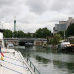 Liegeplatz mit Place de la Bastille in Sichtweite