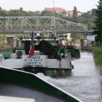 Morning rush hour upstream lock Coudray (Seine)