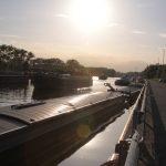 Sunset at lock Merelbeke in Gent