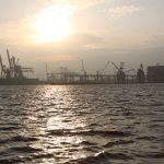 Sunrise in the harbor of Antwerp