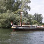 Anchoring Dutch barge in the nature reserve «Biesbosch»