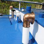 Alte Ventilationshutzen auf einem Binnenfrachtschiff