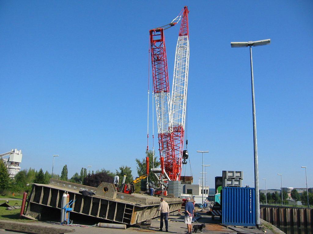 Reparatur des oberen Schleusentors von Andenne-Seilles