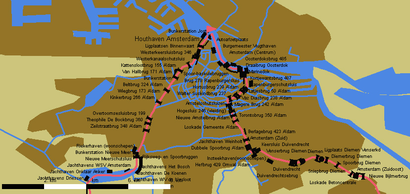 Route durch Amsterdam