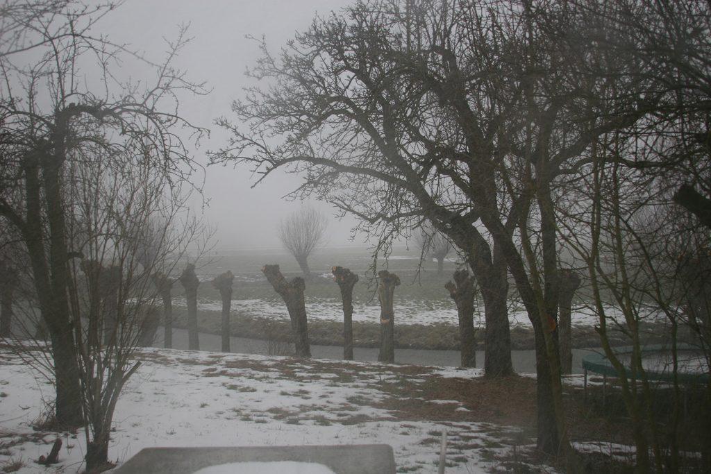 Der Schneesturm fegt über das Land