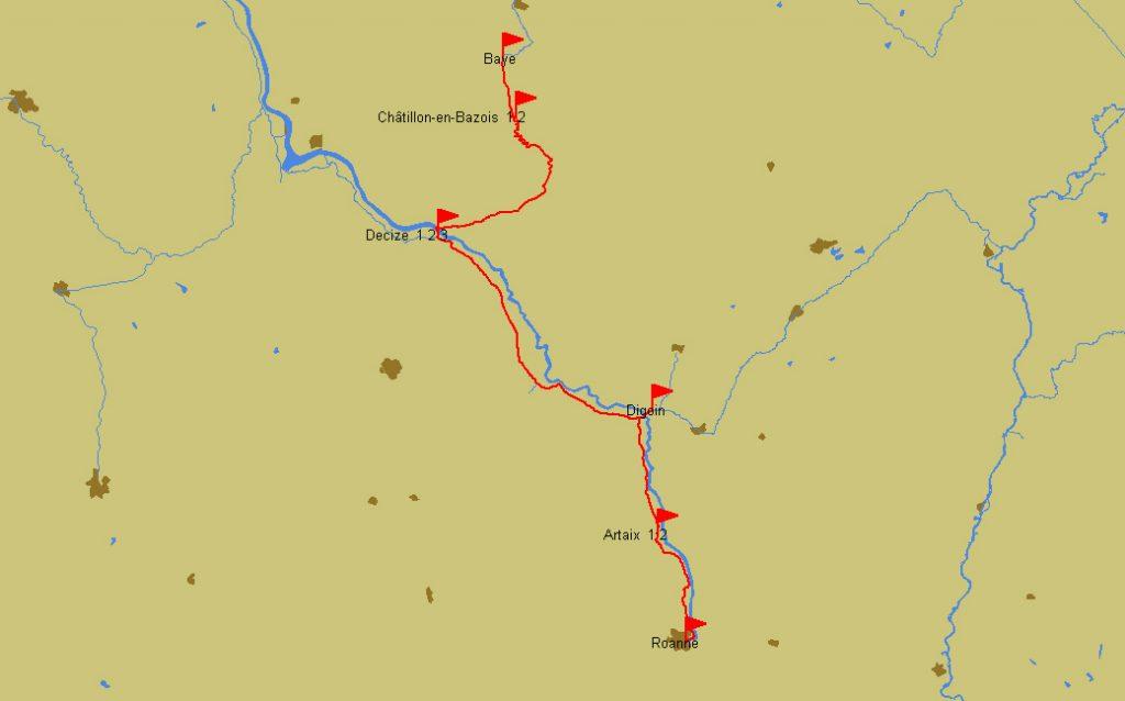 Reiseroute Roanne–Baye