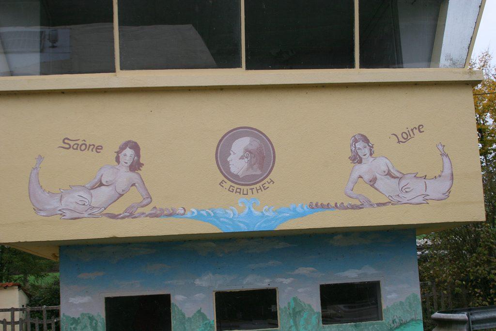 Malerei am Schleusenhaus vor dem «bief de partage»