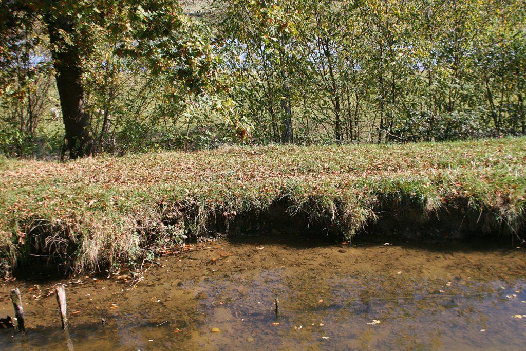 Der erodierte Damm und gleich dahinter die Loire bei Kilometer 42