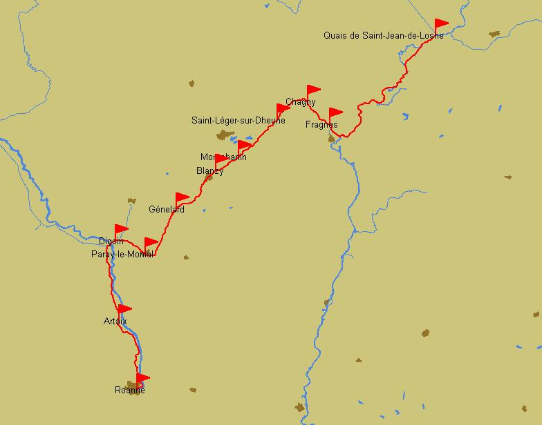 Reiseroute St-Jean-de-Losne – Roanne
