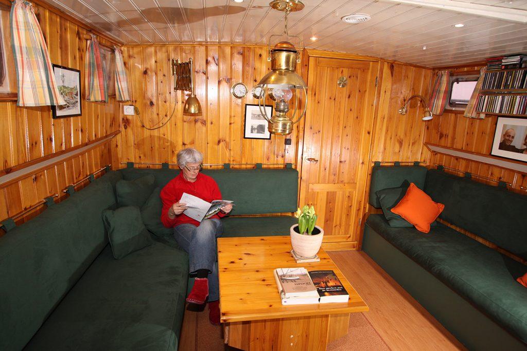 Die neu aufgepolsterte Sitzecke