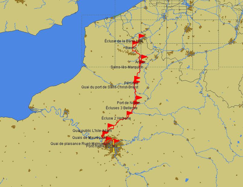 Fahrtroute Paris–Lille