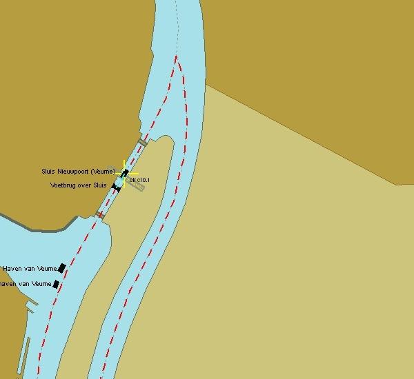Die Spitzkehre in Veurne zum Lo-Kanal (Kartenausschnitt: PC Navigo)