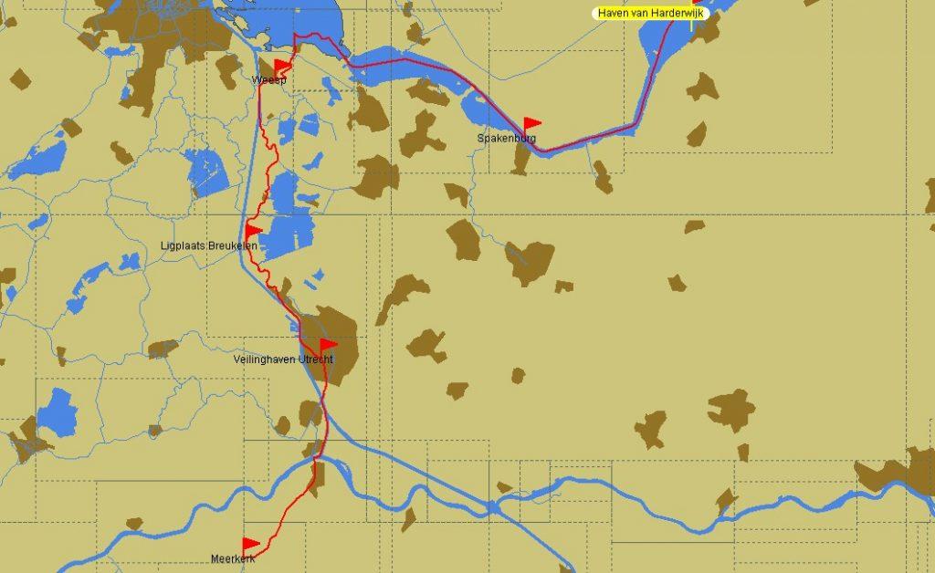 Von Harderwijk nach Meerkerk (Karte: PC Navigo)