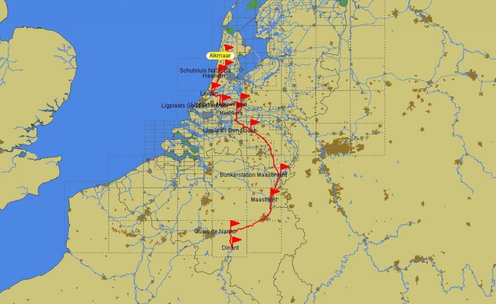 Fahrtroute Alkmaar – Dinant (Bild PC Navigo)