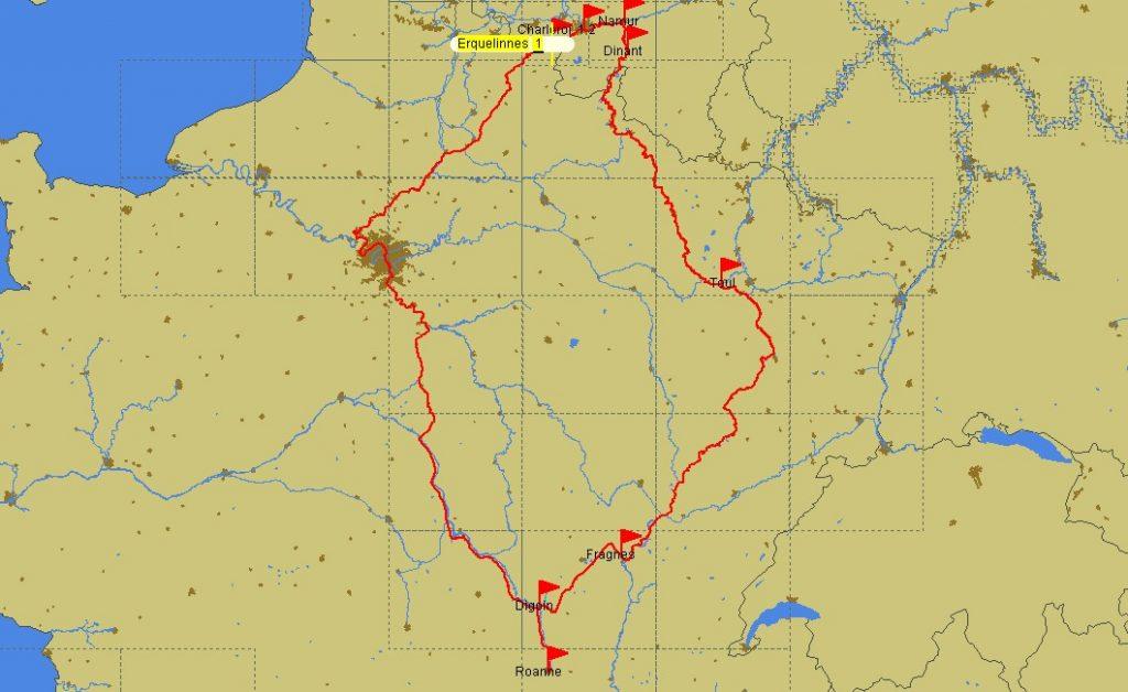 Die Ostroute über Toul, die Westroute über Paris (Karte PC Navigo)