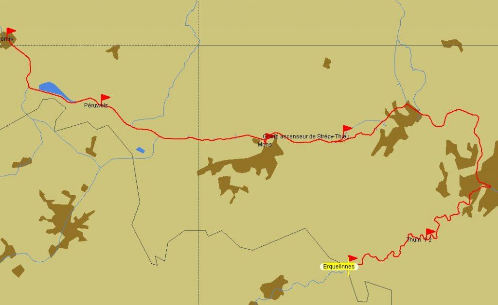 Route Erquelinnes-Tournai (PC Navigo)