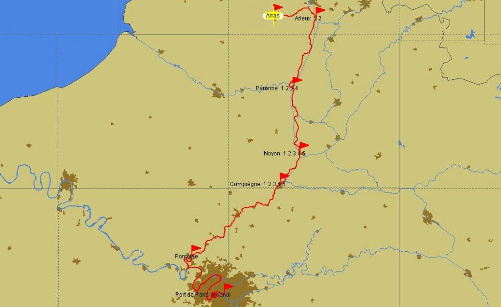 Fahrtstrecke Arras – Paris
