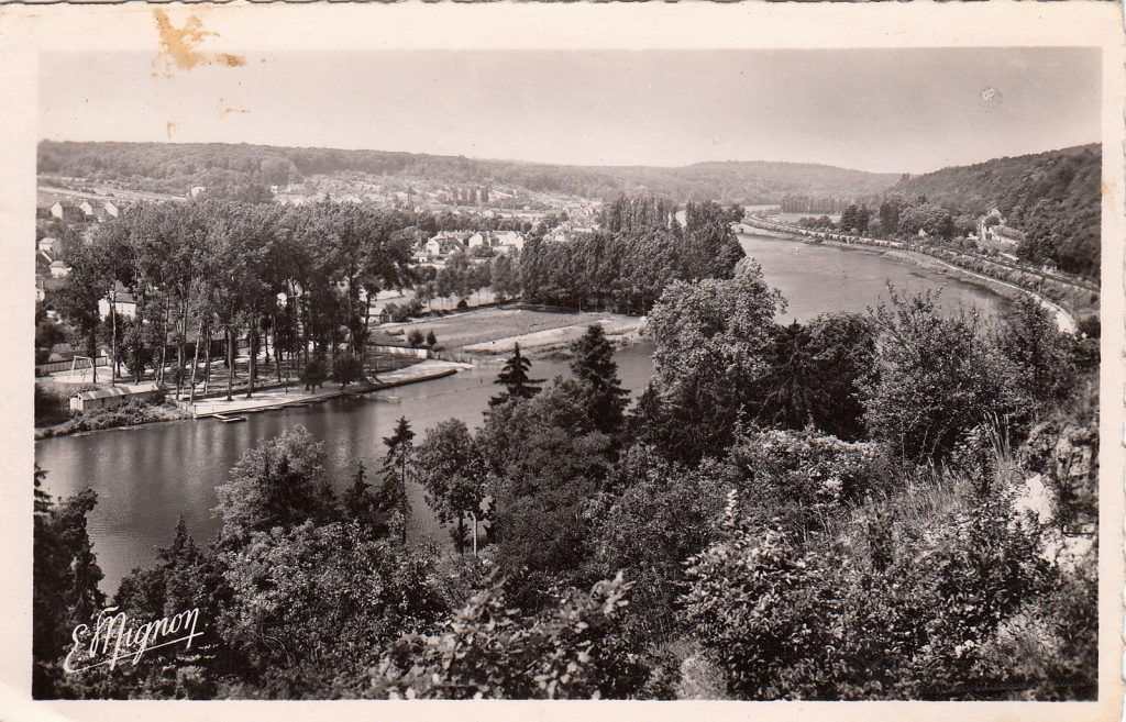 Die Seine vor Saint-Mammès auf einer alten Postkarte (Sammlung Christian Huber)
