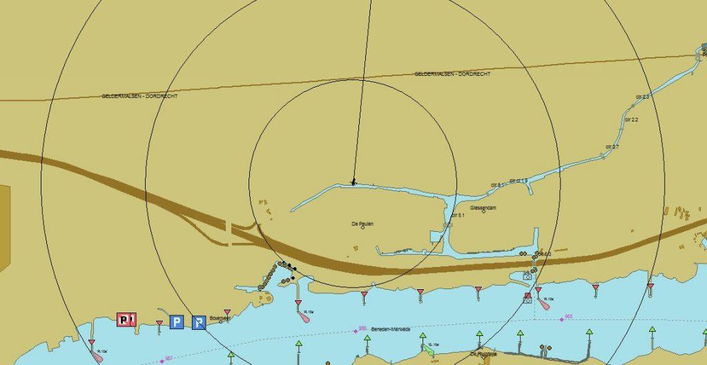 Im Karnemelksloot: Kinette ist im Zentrum der Kreise (Karte PC Navigo©)