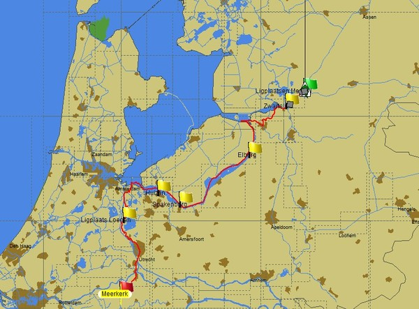 Die Route Hardinxveld-Giessendam – Meppel (Karte PC Navigo ©)
