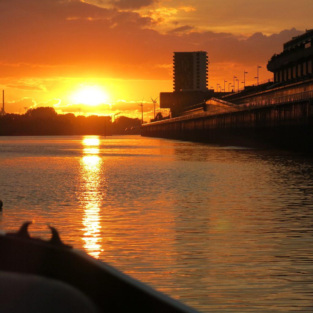 Sonnenuntergang im Europahafen